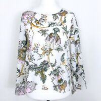 KENAR White Floral Blouse Statement Sleeve Medium Size 12 14 WORN ONCE O1