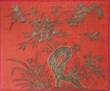 BELLISSIMO Ricamo Vittoriano foto filo d'oro su seta rossa