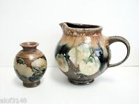 Salt Glazed Pottery Brown And Blue Pitcher and Vase 2 Pieces Excellent Signed