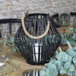Black Rattan Convex Candle Lantern candle holder tealight modern home decor