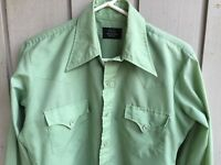 Mens Cowboy-style Shirt Sears Western Wear Size Small Light green Snap front VGC