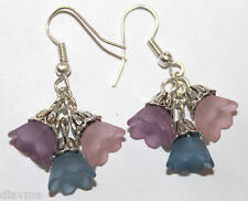 pink purple blue Lucite bell flowers flower beaded silver EARRINGS Jewellery