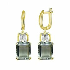 NATURAL GREEN AMETHYST QUARTZ EARRINGS IN STERLING SILVER GOLD PLATED FINE JEWEL