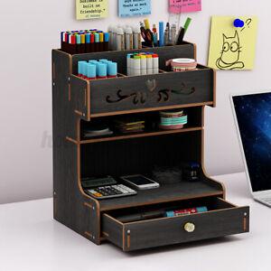 Desktop Pen Box Desk Office Pencil Drawer Organizer Storage Rack Brush Container