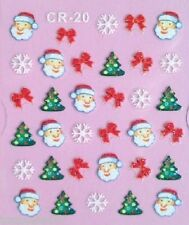 Christmas 3D Nail Art Stickers Decals White Snowflakes Bows Gel Polish (CR20)