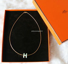 NIB Authentic Hermes Blue Atoll H POP Pendant Necklace Enamel Gold Hardware GHW
