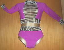 CERISE LYCRA/ ZEBRA NET CROP TOP AND PANT/SLEEVES/ 7/9 YEAR OLD/COSTUME