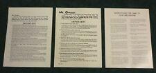 9 pcs. Mills, Jennings Slot Machine Back Door Owner Paper Notice (Reproduction)