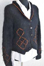 Anny Blatt gilet pull handstrick noir cuivre 38 40 NOUVEAU mohair Spencer