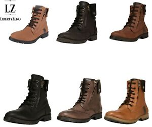LibertyZeno Men's Genuine Leather Lace Up Ankle Length Casual Boots-JERRY