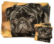 Black Pug Dog 'Love You Mum' Twin 2x Placemats+2x Coasters Set in G, AD-P97lymPC