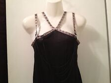 SALVAGE DRESS TOP BLACK CHAIN Rivets SILVER GARY STRAPS goth S NWOT RARE
