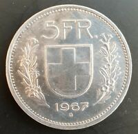 1967 - Silver Coin - Switzerland - 5 Swiss Francs - 5 FR - Helvetica..aUNC...
