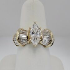Cubic Zircon Marquise & Tapered Baguette Ring 14K Yellow Gold +/- 3.88 Ct Tw
