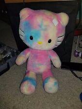 "Hello Kitty Tie Dye Pastel Rainbow Watercolor Build A Bear Plush Cat 18"""