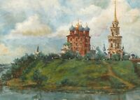 5x7 PRINT OF PAINTING MODERN ART RAVEN CROW RYTA LANDSCAPE MOSCOW RUSSIA CHURCH