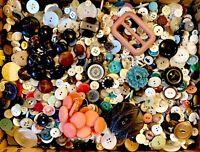 BUTTONS! HUGE Lot TEN POUNDS Vintage Sewing Buttons 10lb Estate Sale Mix 10PD7