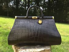 Vintage Mulberry Black Congo Print Leather Gladstone Bag VGC