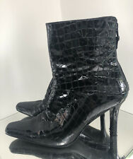 Russell Bromley Stuart Weitzman Croc Patent Leather Ankle Boots Size - 9 .