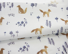 Winter Forest Fox Fabric made in Korea By the Yard Digital Textile Printing