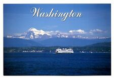 Ferry Boat Washington Postcard San Juan Islands Mt Baker Mountains Snow New