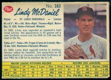 1962 POST CANADIAN BASEBALL #163 LINDY McDANIEL VG-EX ST. LOUIS CARDINALS Card