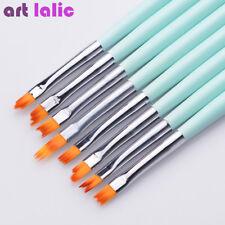 8 Pc French Nail Art Brushes Set Half Moon Shape Gradient Petal Mint Drawing Pen