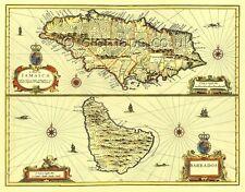 Jamaica & Barbados Replica 17c. John Speed Old Map Full Size PRINT  UNIQUE GIFT