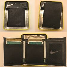 NIKE MEN'S BLACK TRIFOLD PEBBLE GRAIN GENUINE LEATHER WALLET NIB NWT