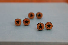 Wooden bamboo earrings with etched star - star studs, wooden jewellery