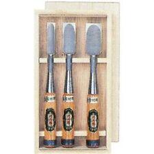 "Set of Three Japanese bench chisel ""NOMIKATSU"" with wood box Carpenter tool NOMI"