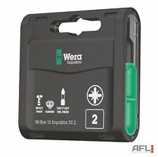 15 Pack Wera 057763 Impaktor Diamond Pozi PZ2 25mm Screwdriver Bit Box