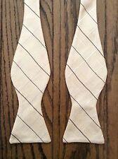 NWOT Hickey Freeman 100% Silk Yellow Plaid Bow Tie
