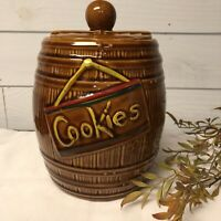 Vintage 1950's McCoy Ceramic Whiskey Barrel Cookie Jar with Lid made in the USA