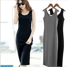 Women Summer Retro Plain Tank Vest Maxi Dress Sleeveless Slim Sundress JJ