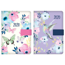 2020 A6 Day a Page Monthly Indexed Fabric Organiser Diary Butterfly Bird Design