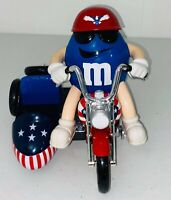 M&M's Red, White, & Blue Motorcycle Candy Dispenser W Side Car VTG M&M Collectib