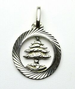 Cedar Tree Lebanon Sterling Silver .925 Unisex Pendant Necklace