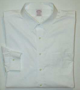 BROOKS BROTHERS Madison Dress Shirt   Mens 18.5 - 35 White Supima Cotton