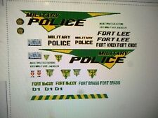 US Army Military Police Car Decals  Ft Lee/Bragg/McCoy/Knox  Custom 24 scale
