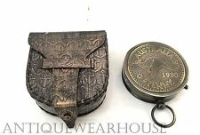 Vintage Antique Brass Working Penny Compass With Anchor Case Navigation Compass