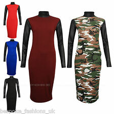 Women's WET LOOK PU Polo Neck & Sleeves Jersey Bodycon Ladies Midi Dress