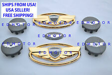 2011-2015 fits HYUNDAI GENESIS COUPE GOLD BLACK WING EMBLEM+STEERING+WHEEL CAP