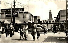 Rotterdam Postkarte ~1950/60 Lijnbaan Partie in der Fußgängerzone Personen Auto