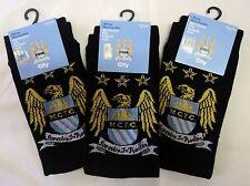 Manchester City Crest Calzini 3-PACK Ufficiale Merchandise taglia UK 6-11 Da Uomo Nuovo con etichetta