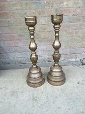 Large Heavy Rare Victorian Antique Vintage Cast Bronze Church Altar Candlesticks