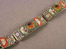 Vintage Italian Floral Micromosaic Curved Link Bracelet as is!