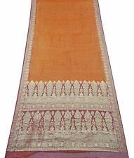 Jahrgang Sari Orange Rein Seide Gewebte Indische Saree 5 Yard Wrap Kleid PSSI371