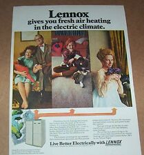 1971 print ad - Lennox electric heating cute little boy dogs family Advertising