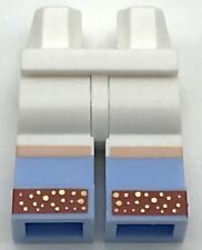 Lego New White Minifig Pants Hips and Legs w/ Bright Light Blue Boots Red Shoes